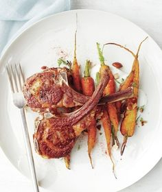 Paprika Lamb Chops With Dill Carrots and Yogurt recipe: For the sweetest results, roast young, skinny carrots flavored with coriander, fresh dill, and roasted almonds. paprika lamb, dill carrot, lamb chops