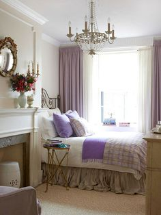 Warm off-white walls and soft lavender accessories make this bedroom look like a dream: http://www.bhg.com/rooms/bedroom/color-scheme/bright-bedrooms/?socsrc=bhgpin021714subtlecolor&page=12