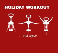 Holiday Workout: Three corkscrews by Ned Martin #Illustration #Humor #Holiday #Corkscrew