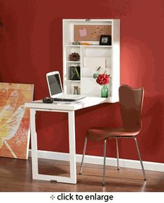 Fold-Out Convertible Writing Desk Wall Mount Design White Finish