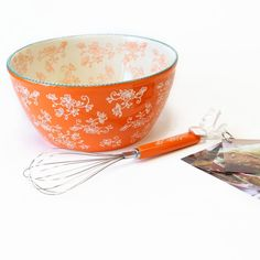 temp-tations® Floral Lace 4-qt. Mixing Bowl in Tangerine with Matching Whisk & Recipe Cards :: temp-tations® by Tara