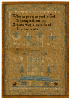 Rebekah Middleton her work done in the 11 year of her age 1793 needlepoint sampler, needlework sampler, antiqu sampler