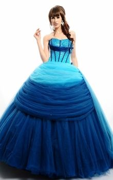 Blue Natural Satin Lace-up Rainbow Quinceanera Dress QD0C45