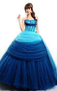 Blue Natural Satin Lace-up Rainbow Quinceanera Dress QD0C45