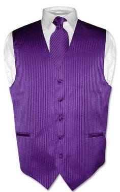 Men's Dress Vest & NeckTie Purple Striped Vertical Stripes Design Set for Suit or Tuxedo