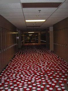 senior prank. fill random cups, leave others empty