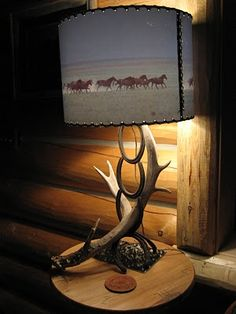 Rodeo Tales & Gypsy Trails: horseshoe and antler lamp