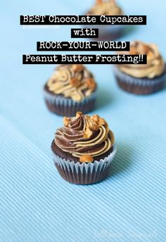 Best Chocolate Cupcakes with Peanut Butter Frosting at Jellibeanjournals.com