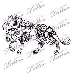 Marketplace Tattoo Henna lion #1204 | CreateMyTattoo.com
