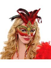 Luxe Venetian Red Feather Mask-Party City