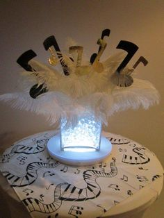 white lighted musical note centerpiece