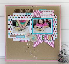 Simple Stories blog--love the banner shape behind the photo! cute colours