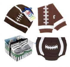 Football Baby Gift Set. Perfect gift for a sports themed baby shower or football themed baby shower.  www.SpecialBabyShowerGifts.com