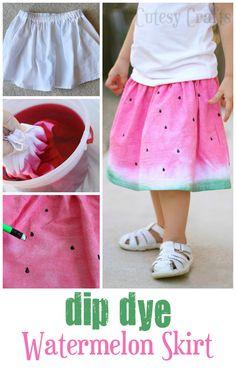 Dip Dye Watermelon Skirt - Made from a flour sack tea towel!
