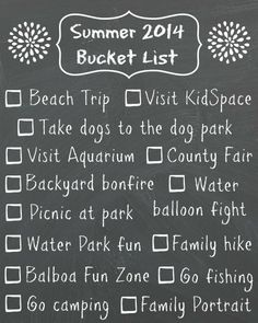 2014 summer bucket list // coming up with one is a fun activity to do with the family // -Momista Beginnings