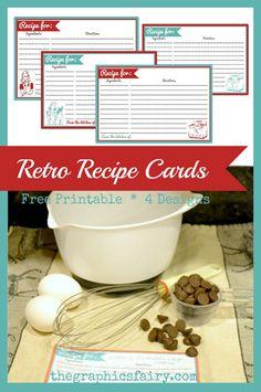Retro Recipe Card Printables  //  The Graphics Fairy