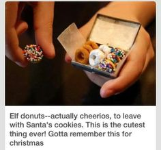 Too cute! Elf Donuts made from Cheerios to leave out with the cookies for Santa! #christmas #santa #elf