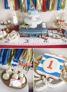 nautical-first-birthday-dessert-table