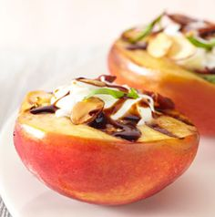 In the summer, serving fruit for dessert is a good idea. Serving Grilled Nectarines with Mascarpone Cheese is an even better idea! Grilling the fruit brings out its sweetness. recip book, eat clean, fruit mad, serv fruit, eat healthi, grill nectarin