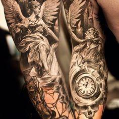 Niki Norberg inked these black and grey angels. #InkedMagazine #realistic #blackandgrey #angel #clock #tattoo #tattoos #inked #Ink