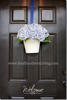 Hanging Hydrangea Bucket for the front door.