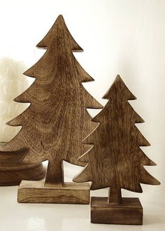 Pair Of Wooden Christmas Tree Decorations