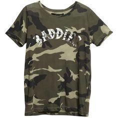 Baddies Camo Tee ($50) ❤ liked on Polyvore