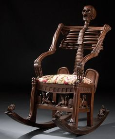 ! skull, living rooms, russia, rockers, rocking chairs, bone, 19th century, skeletons, carved wood