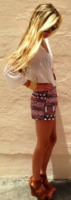 Aztec Shorts With White Blouse