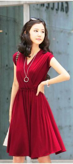 Adorable sleeveless red mini dress