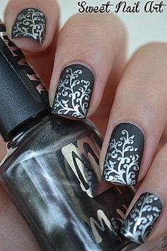 baroque, nail designs, nail art designs, silver, black nails, nail arts, matte black, floral designs, sweet nails