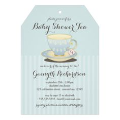 A lovely yellow and blue teacup with a pretty china pattern is featured on this this chic and feminine invitation for a Baby Shower Tea. Sweet details include personalized teabag label peeking out of the teacup that you customize with the new mommy's initial. Tag shape mimics a teabag too and looks lovely with a pretty matching ribbon tied through the hole. Also available in pink for a baby girl. #tea #tea #party #shower #teacup #chic #baby #shower #baby #shower #tea #baby #blue #boy #china ...