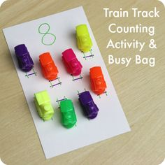 Train Track Counting Activity and Busy Bag: a portable travel activity for kids who love trains from Play Trains! Includes variations for older preschoolers as well.
