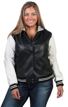 Deb Shops plus size leather varsity jacket with fleece hood and sleeves $45.90