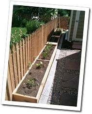 Love this raised vegetable garden along the fence