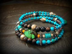 Turquoise, Variscite, Wood, Glass Beaded Bolo Leather Gypsy Tribal Wrap Charm Bracelet