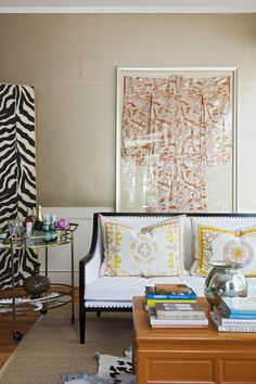 Not wearing it? Frame it! Tara Guérard displays this beautiful kimono as a work of art in her home office.