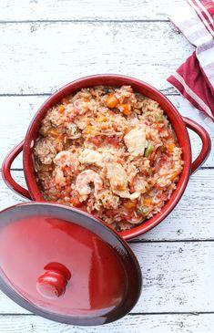 One Pot Chicken, Shrimp and Sausage Jambalaya