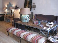 Furniture covered in beautiful kilim rugs. www.lavieboheme-webshop.nl.