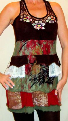 Pixie Festival Dress Upcycled Layers Brown by PandorasPassions, $95.00