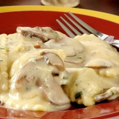 This chicken mushroom alfredo can be served over your favorite kind of pasta.