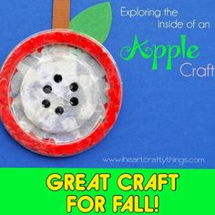 """Thank you to @iheartcraftythings for this wonderful """"Exploring the Insides of an Apple"""" craft.  She has designed it as a fine motor craft, but I am sure it would be ideal to do while discussing the parts of an apple and apple and fall vocabulary words!  Who has other ideas how to use this craft  - - click on pin for more!    - Like our instagram posts?  Please follow us there at instagram.com/pediastaff"""