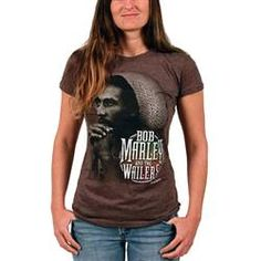 This brown Bob Marley Women's Tee features a monotoned image of Bob pondering with his hands clenched on his chin. The image fades into the T-Shirt perfectly, with the Bob Marley And The Wailers logo below the image in a rasta colored circle.