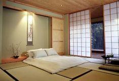 Simple Japanese Bedroom Interior lighting Ideas