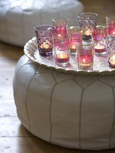 colored candles tea sets, pouf, candle holders, tray, moroccan style, parti, reception tables, colored glass, tea lights