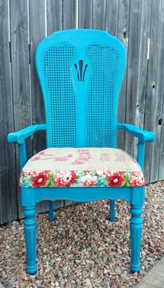 Big Blue! DIY chalk paint furniture. Quirky upholstery. Coffee sack. ThreeSistersDesign find us on Facebook.