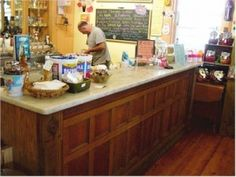 antique store counter makes a great kitchen island