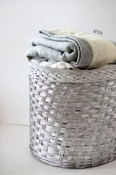 Spray paint big baskets with Krylon Metallic.  Tutorial shows a mix of white and the metallic.  Want to do this!