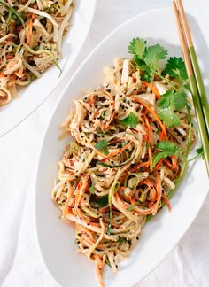 pad thai using raw vegetable noodles.