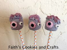 Eat if you dare! Sweet and scary...Zombie Marshmallow Pops! Have the kids help make this treat.  Mix @wilton  black candy melts into melted white candy melts to make the grey color. Add zombie eyes.... use a baggie to add brains to the top. #Straws from #PYP